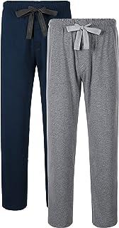 DAVID ARCHY Men's Comfy Jersey Soft Cotton Knit Pajama Long John Lounge Sleep Pants 2 Pack