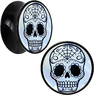 Black Acrylic Sugar Skull Mother of Pearl Inlay Saddle Plug Pair (5mm to 20mm)