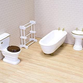 Melissa & Doug Classic Wooden Dollhouse Bathroom Furniture (4 pcs) - Tub, Sink, Toilet, Towel Rack