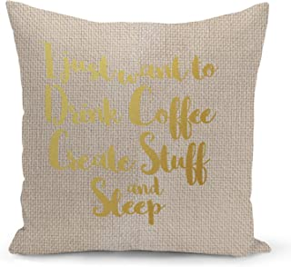 Creativity Creators Designers Beige Linen Pillow with Metalic Gold Foil Print Coffee Sleep Pillow Couch Pillows