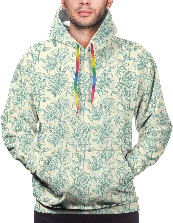 Men's Hoodies Sweatshirts,Botanical Daisy Wildflowers Pattern Vintage Nature Blossom