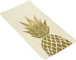 About Face Designs Stunning Golden Pineapple Cotton and Linen Tea Towel, 26.5 x 19 Inch, White