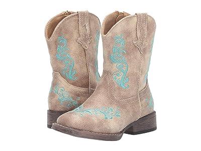 Roper Kids Eudora (Toddler) (Beige Vamp/Beige Shaft/Turquoise Embossed) Girls Shoes