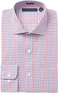 d53aef3a Tommy Hilfiger Men's Non Iron Regular Fit Check Spread Collar Dress Shirt