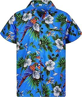 V.H.O. Funky Hawaiian Shirt | Men | XS-12XL | Short-Sleeve | Front-Pocket | Hawaiian-Print | Cherry Parrots Flower