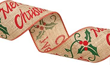 7 SEVENTOPIA Wide Christmas Burlap Ribbon Wired Edged Xmas Tree Ornaments Red Green Brown for Wreaths Bows Gift Packaging - 2.5 in x 6.5 ft