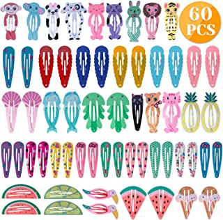 Anezus 60 Pcs Hair Clips Hair Barrettes Snap Clips Non-Slip Hair Barrettes with Animal Printed Pattern for Dogs Pets Hair Accessories
