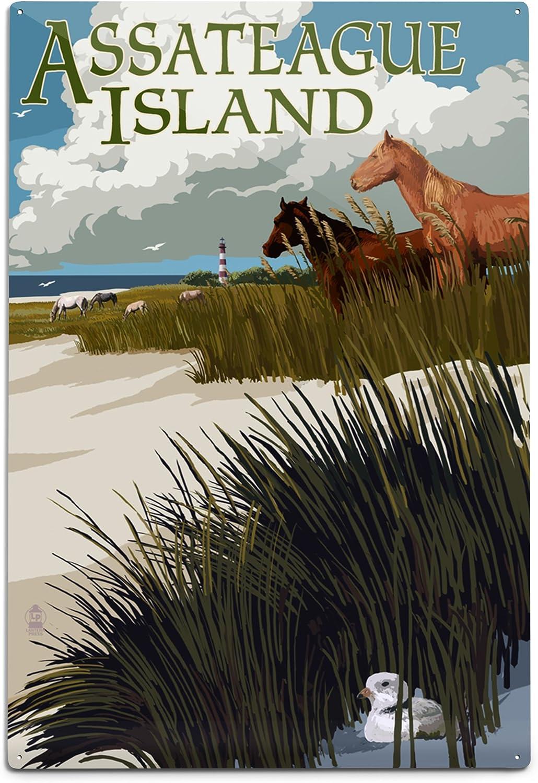 Columbus Mall Lantern Press Assateague Island New product! New type Virginia and 12x Dunes Horses