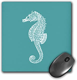 3dRose LLC 8 x 8 x 0.25 Inches Mouse Pad, Teal Blue Seahorse Print Sea Horse Ocean Marine Beach Aquarium Aquatic (mp_164965_1)