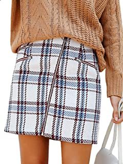 Women's High Waist Plaid Mini Skirt Tweed A Line Bodycon Short Skirt