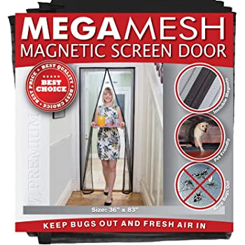 Magnetic Screen Door - Heavy Duty Reinforced Mesh & Full Frame Hook & Loop Actual Size 36 x 83 inches Fits Doors Up to 32 x 82 inches MegaMesh - 12 Month Warranty