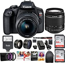 Canon EOS Rebel T7 Digital Camera: 24 Megapixel 1080p HD Video DSLR Bundle W/Wide Angle 18-55 MM Lens 64 & 32GB SD Cards + Flash + Spare Battery - Professional Vlogging Sports and Action Cameras