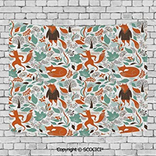 SCOCICI Wall Tapestry Decorative Art Prints can be Hung on The Bedside of Dormitory,Fox,Funny Sleeping Fashion Fox Figures Falling Autumn Leaves Graphic Garden,Turquoise Orange Brown
