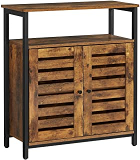 VASAGLE LOWELL Standing Cabinet, Storage Cabinet, Accent Side Cabinet with Shelf, Cupboard with Louvered Doors, Multifunct...