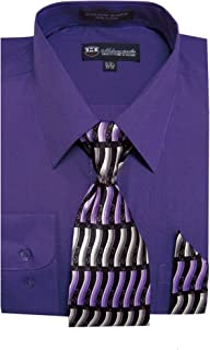 Men's Long Sleeve Dress Shirt With Matching Tie And Handkie SG21A-Purple-19-19 1/2-36-37