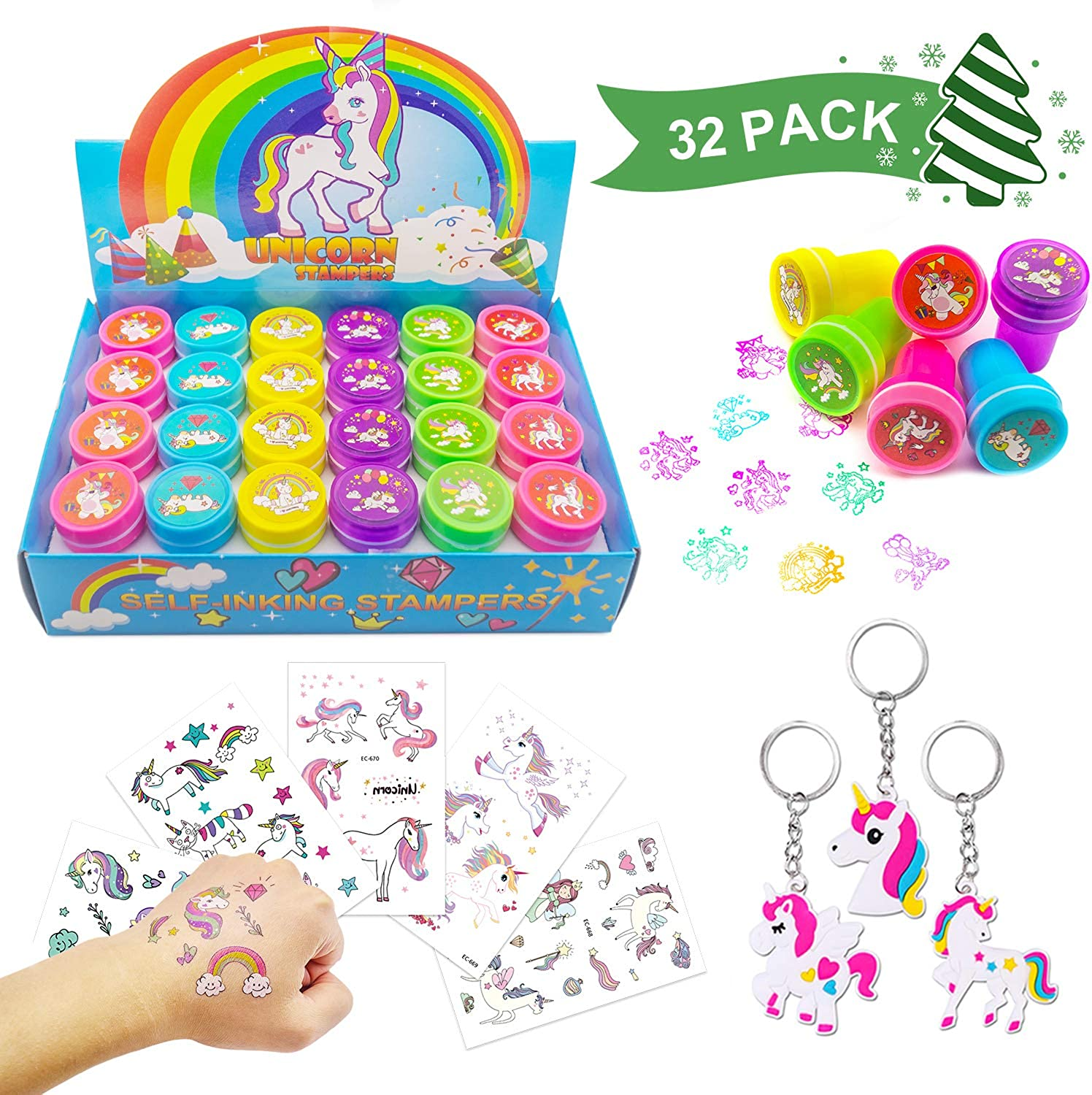 Elifebox 24 PCS Rainbow Unicorn Stampers Set, 5 Sheets Waterproof Rainbow Unicorn Temporary Tattoos for Kids Unicorn Party with Free Gift