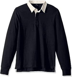 A|X Armani Exchange Men's Long Sleeve Cotton Jersey Polo Shirt Tonal Collar