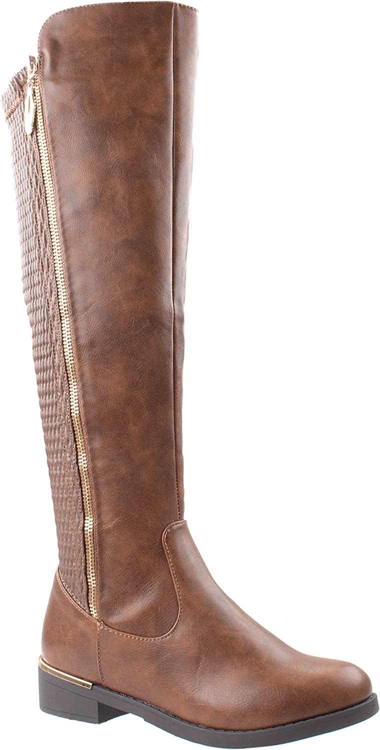 Top Moda shoes Women's Ginger-5 Riding Round Toe Knee High Boots Stretch Elastic Shaft Wide Calf