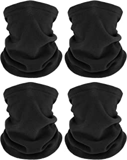 4 Pieces Winter Neck Warmers Fleece Gaiter Windproof Face Covering (Black)