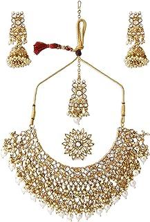 Zaveri Pearls Gold Tone Kundan Choker Necklace Earring Maangtikka & Ring Set For Women-ZPFK10799