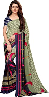 35a1d0ecde ANNI DESIGNER Georgette Saree with Blouse Piece (Aakruti-120-1_Green_Free  Size)