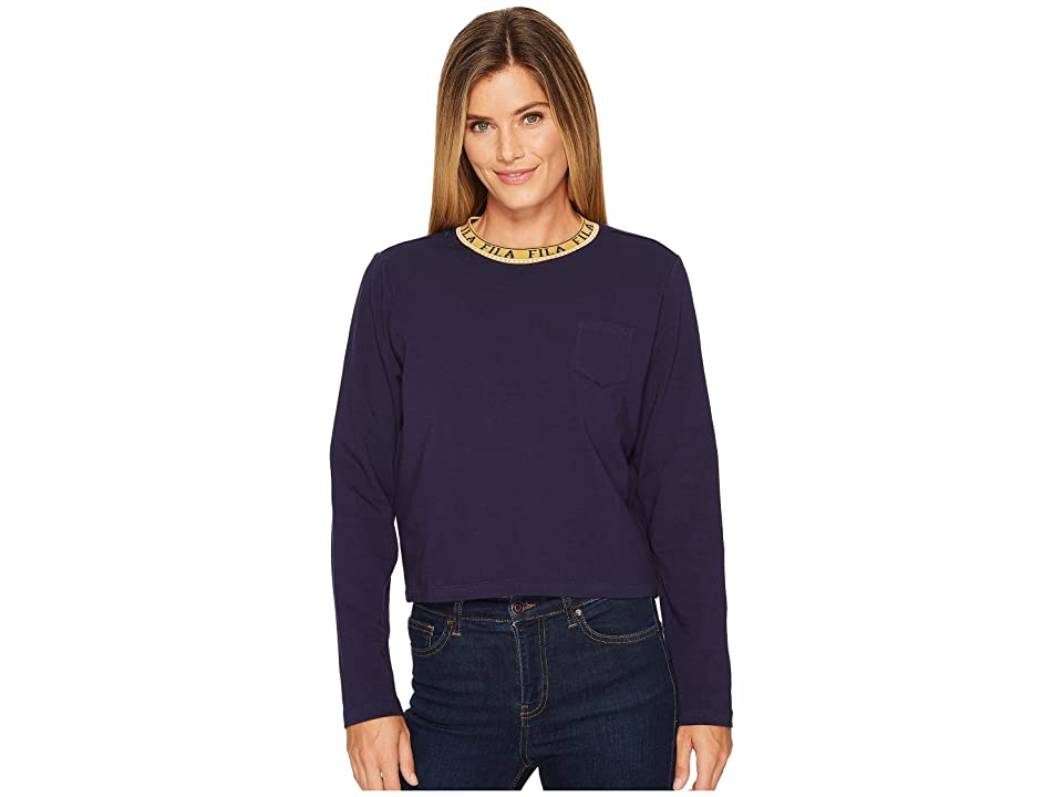 Fila Rebecca Long Sleeve Top (Navy/Metallic Gold) Women