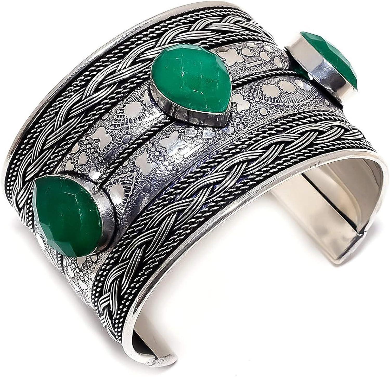 Sakota Mines Opening large release sale Emerald Gemstone 925 5% OFF Sterling Cuff Silver Bracelet