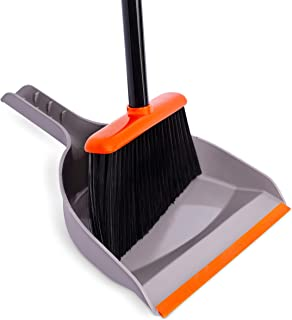 BirdRock Home Broom and Dustpan Set - Orange and Grey Durable Set - Indoor or Outdoor - Sweep Combo Great for Kitchen, Home, Garage and Office - Clip On