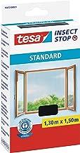 tesa Insect Stop STANDARD Fliegengitter für Fenster - Insektenschutz zuschneidbar - Mückenschutz ohne Bohren - Fliegen Netz anthrazit, 130 cm x 150 cm
