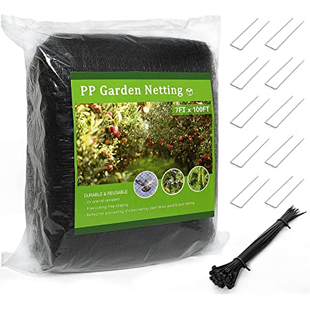 AQUEENLY Bird Netting for Fruit Trees 7 X 100FT DeerFence Durable PP Garden Netting for Squirrels and Birds, Reusable Chicken Wire Fence, Easy DIY Installation