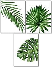 Tropical Leaves Art Prints - Botanical Prints Wall Art - Watercolor Monstera Date Palm Leaf Decor - Set of 3-8x10 - Unframed