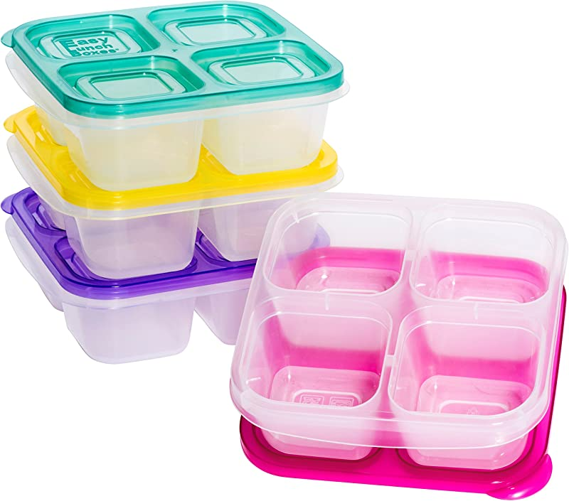 EasyLunchboxes ELB5 Snack Snack Box Food Containers 4 Compartment Set Of 4 Brights