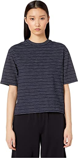 Indigo Stripe Wide Sleeves Crop Tee