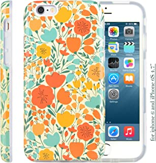 iPhone 6 6S Case, Dimaka Classic Autumn Floral Pattern Cute Style Inked Glossy Surface Protective Case with Hybrid 2 Layers for iPhone 6 and 6S 4.7