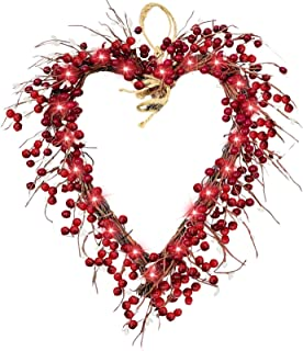 16 Inch Valentine's Day Wreath Front Door Decorations Red Berries Heart Shaped Wreaths with 20 LED Battery Operated ,Valen...