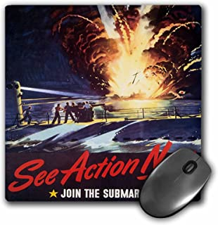 3dRose LLC 8 x 8 x 0.25 Inches Mouse Pad, Vintage See Action Now Join The Submarine Service Poster (mp_149418_1)