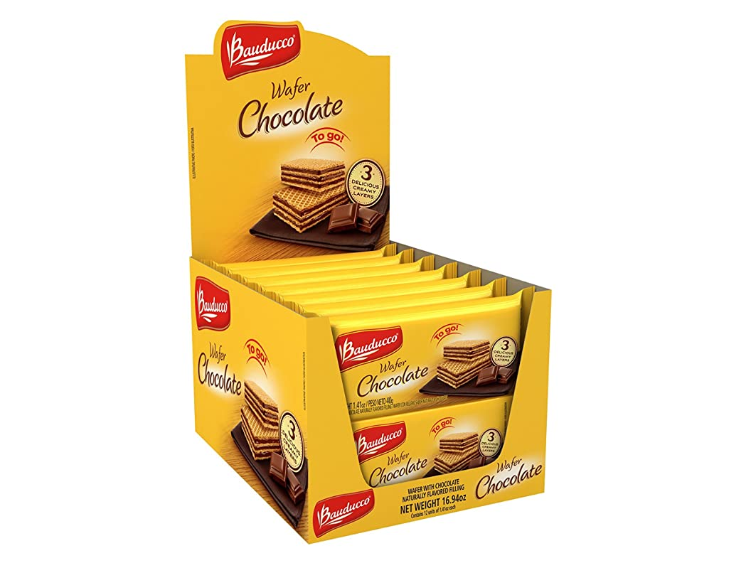 Bauducco Mini Crispy Wafer Cookies, Single Serve, Chocolate, 1.41 oz., Box of 12 jubjnocjzot29