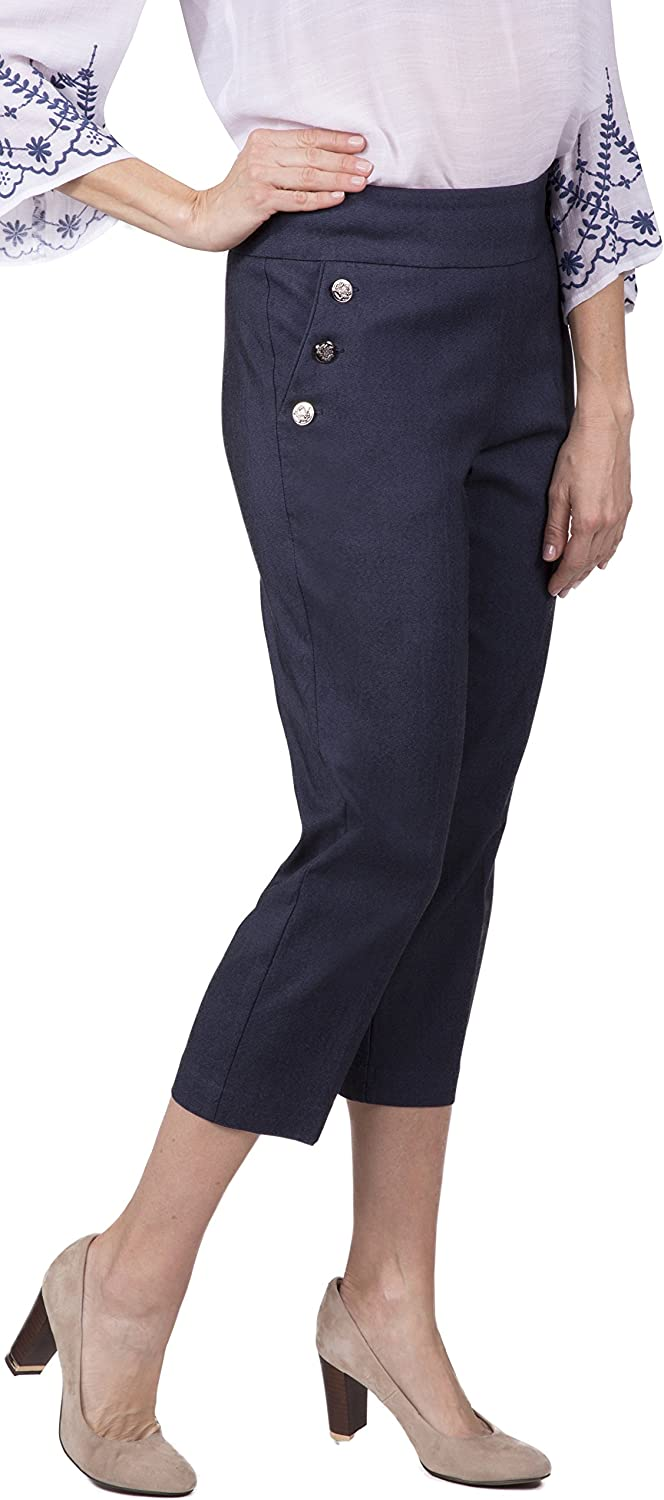 Fundamental Things Women's Easy PullOn Sailor Crop Pant with Slimming Sensations Fabric