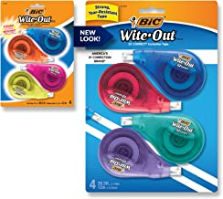 BIC Wite-Out Brand EZ Correct Correction Tape, White, Fast, Clean & Easy To Use, Tear-Resistant Tape, 4-Count