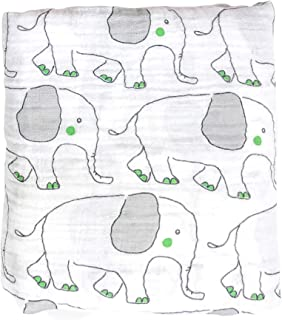 Cute New York Muslin Cotton Blanket (Green Elephant)