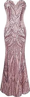Women's Notched Strapless Paillette Column Sheath Prom Dress