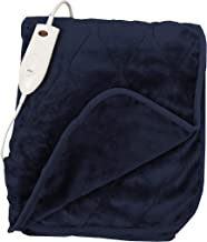 """Quilted Secure Comfort Technology Electronic Heated Throw Blanket 51"""" x 63"""" 3 Heat Settings Auto Shut Off Fast Heating for Full Body Warming (Navy)"""