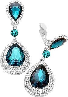 Hochzeit Ball Lange Ohrclips Clips Clip Silber Ohrringe Kristall Klar 6 cm Lang
