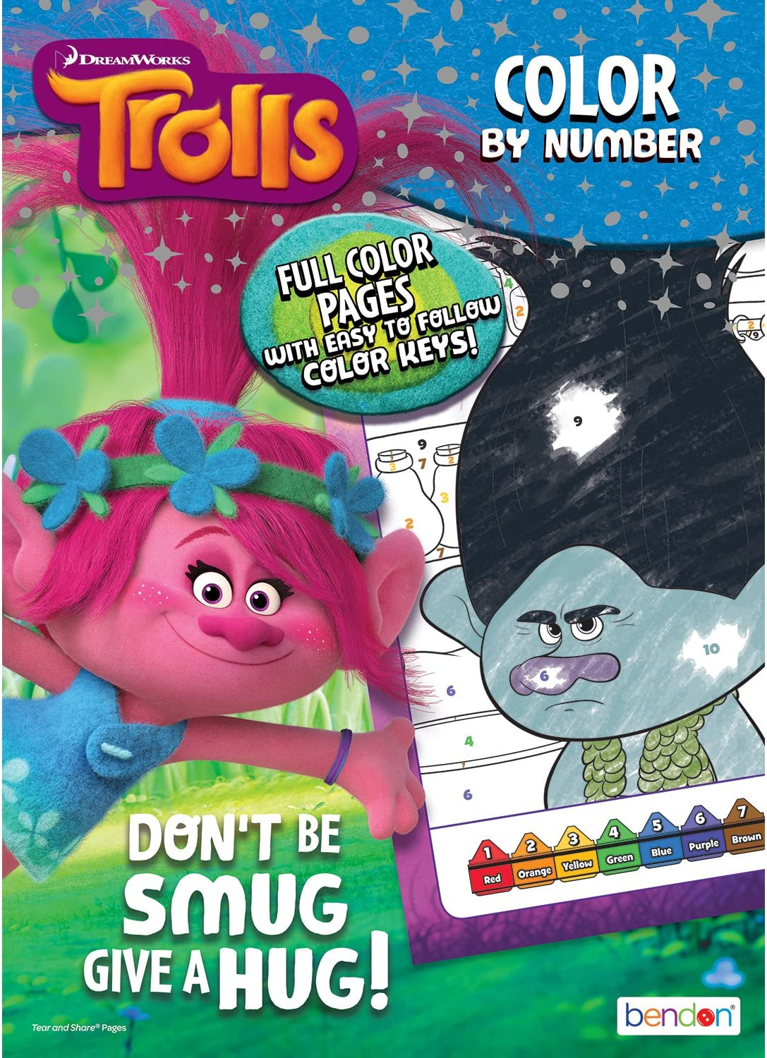 Bendon Classic Trolls Color-by Activity Book 48 Page Cards 100% quality warranty