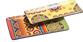Bico Vintage Tunisian Ceramic 14 inch Rectangular Serving Platter, Set of 2, for Serving Salad, Pasta, Cheese, Ham, Appetizer, Microwave & Dishwasher Safe, House Warming Birthday Anniversary Gift