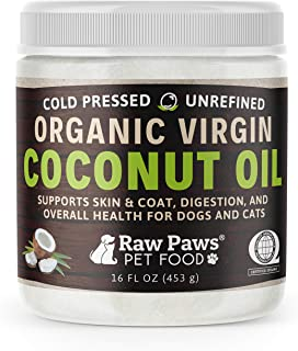 Raw Paws Organic Virgin Coconut Oil for Dogs & Cats, 16-oz - Supports Immune System, Digestion, Oral Health, Thyroid - All...