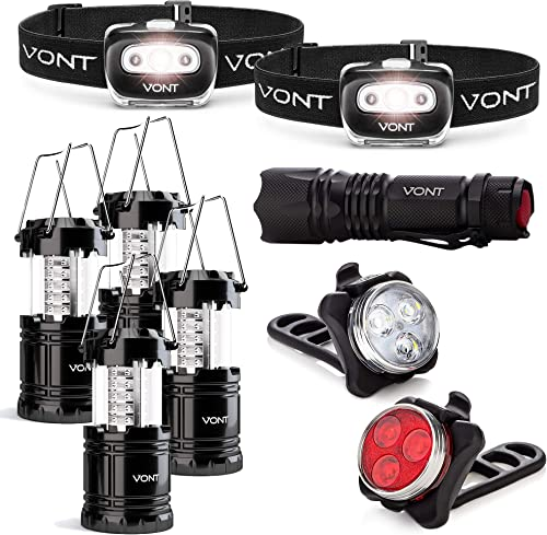 high quality Vont Supreme Outdoor Lighting Bundle - 2-Pack Spark Headlamp + 4-Pack Lantern + outlet online sale XOR Flashlight + Dual Bike Light - Best for All Emergencies, Power Outages, and Outdoor outlet online sale and Night Activities outlet online sale