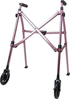 Able Life Space Saver Walker - Lightweight Folding & Height Adjustable Adult Travel Walker for Seniors + Fixed Wheels & Rear Glides - Regal Rose