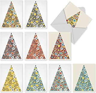 10 Assorted 'Ornamentals' Blank Holiday Cards with Envelopes (4 x 5.12 Inch), Boxed Christmas Trees with Circles Cards, Lovely Triangular Trees Decorated with Zany, Circular Ornaments Cards M6014