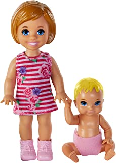 Barbie Skipper Babysitters Inc. Dolls, 2 Pack of Sibling Dolls Includes Small Auburn-Haired Toddler Doll & Blonde Baby Doll Figure in Diaper, for 3 to 7 Year Olds​​